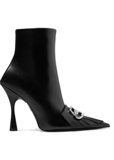 Balenciaga Knife Logo-embellished Fringed Leather Ankle Boots