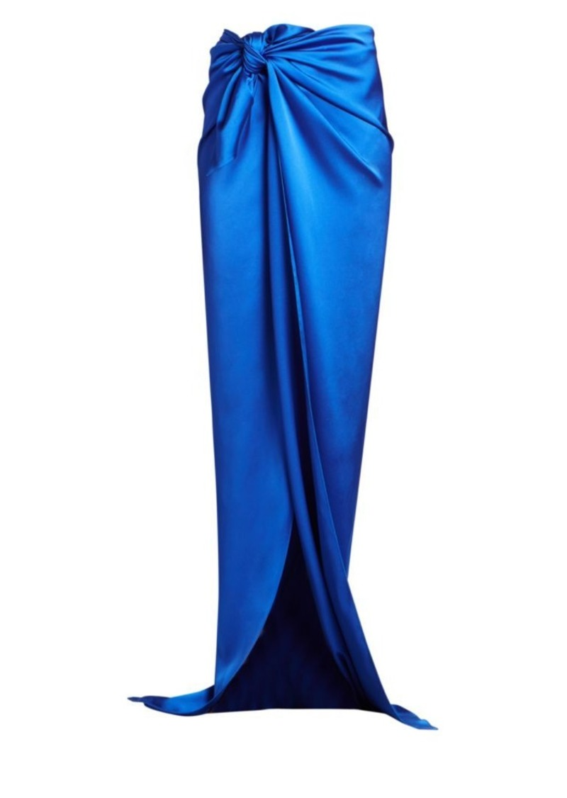 Balenciaga Knotted Stretch Satin Long Skirt