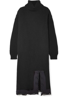 Balenciaga Lace-trimmed Ribbed Wool Turtleneck Midi Dress