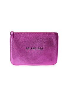Balenciaga Large Everyday Metallic Leather Pouch