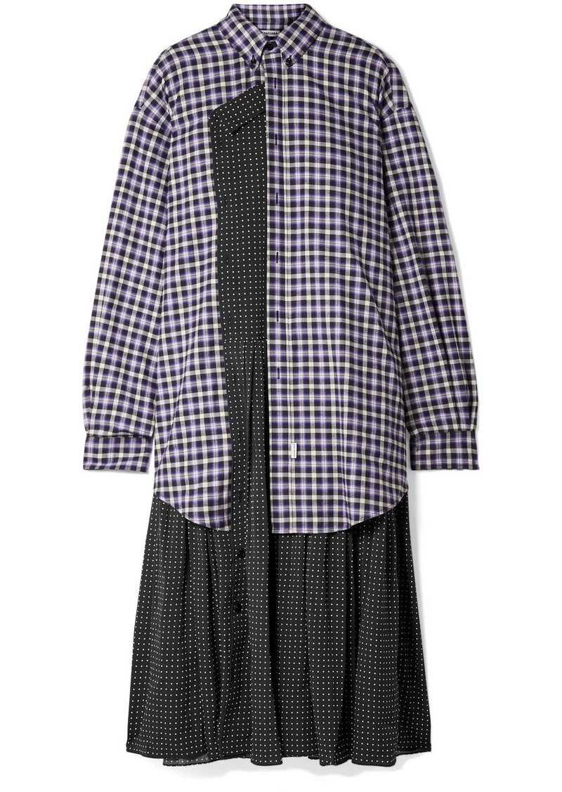 Balenciaga Layered Polka-dot Crepe And Checked Cotton-flannel Midi Dress