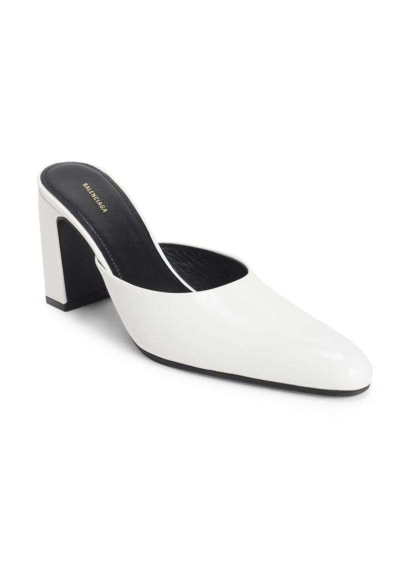 Balenciaga Leather Block Heel Mules