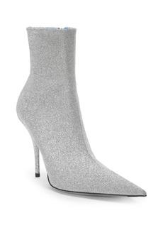 Balenciaga Leather Glitter Kitten Heel Booties