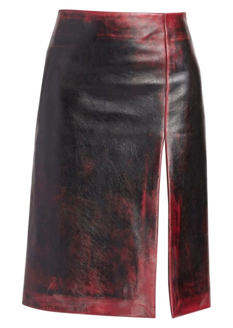Balenciaga Leather High Slit Pencil Skirt
