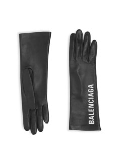 Balenciaga Leather Logo Gloves