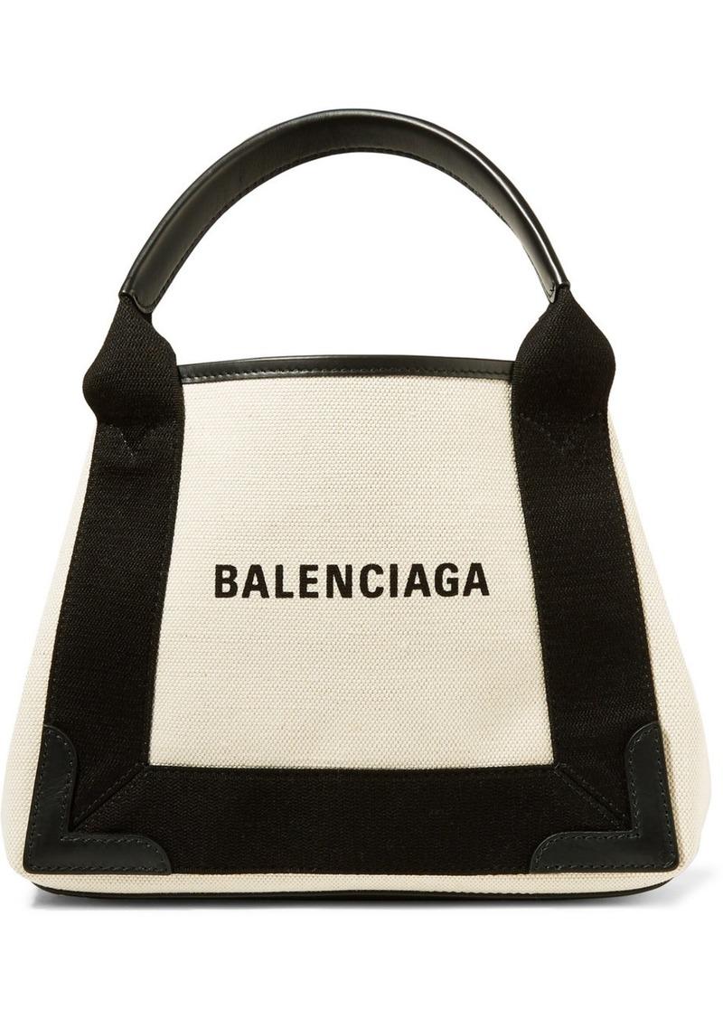 Balenciaga Leather-trimmed Logo-print Canvas Tote