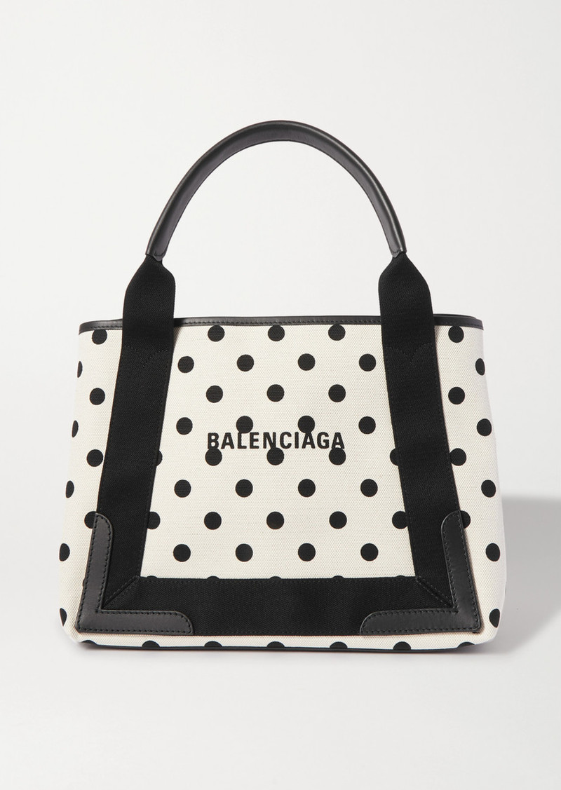 Leather-trimmed Polka-dot Canvas Tote