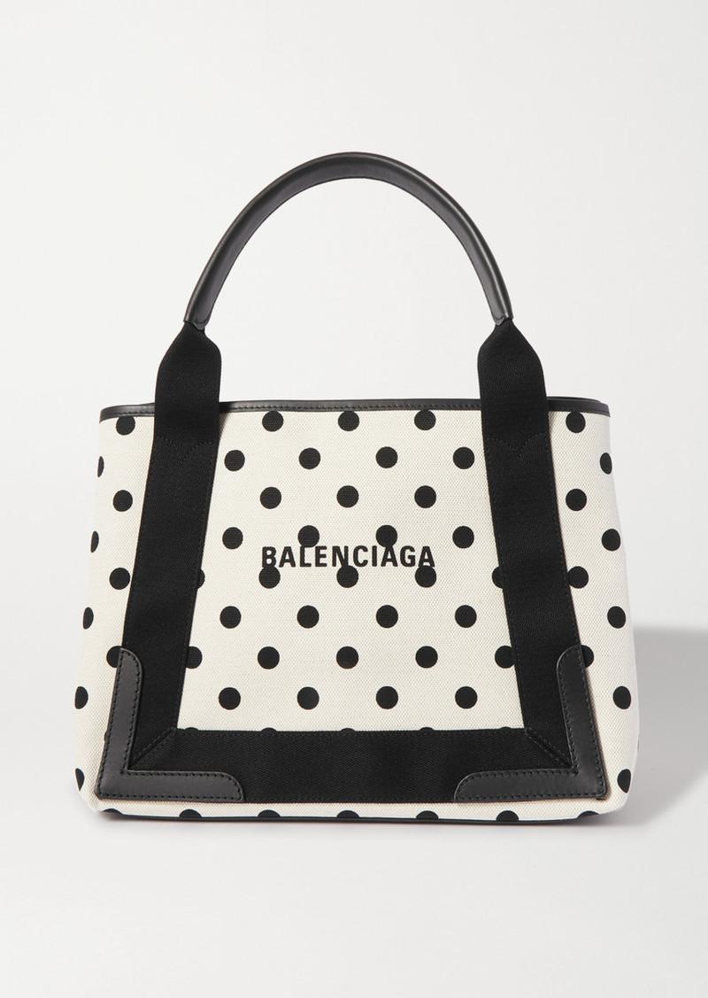 Balenciaga Leather-trimmed Polka-dot Canvas Tote
