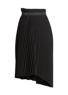 Balenciaga Logo Elastic Pleated Skirt