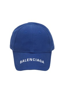 Balenciaga Logo Embroidered Cotton Baseball Hat
