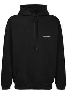 Balenciaga Logo Embroidered Cotton Hoodie