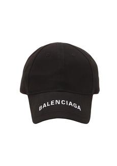 Balenciaga Logo Embroidered Gabardine Baseball Hat