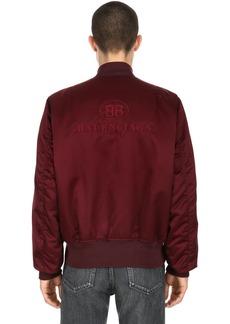 Balenciaga Logo Embroidered Satin Bomber Jacket