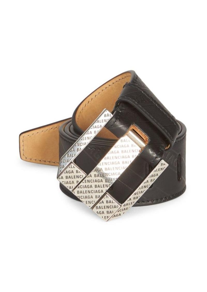 Balenciaga Logo Engraved Leather Belt