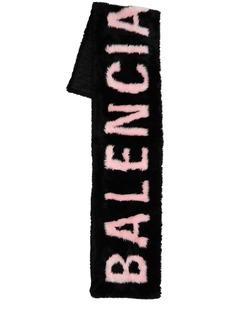 Balenciaga Logo Faux Fur Maxi Scarf