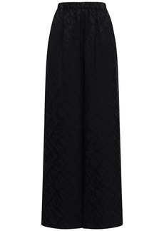 Balenciaga Logo Jacquard Satin Wide Leg Pants