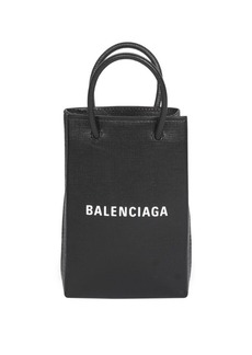 Balenciaga Logo Leather Shopper