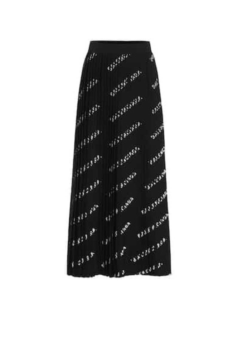 Balenciaga Logo pleated midi skirt