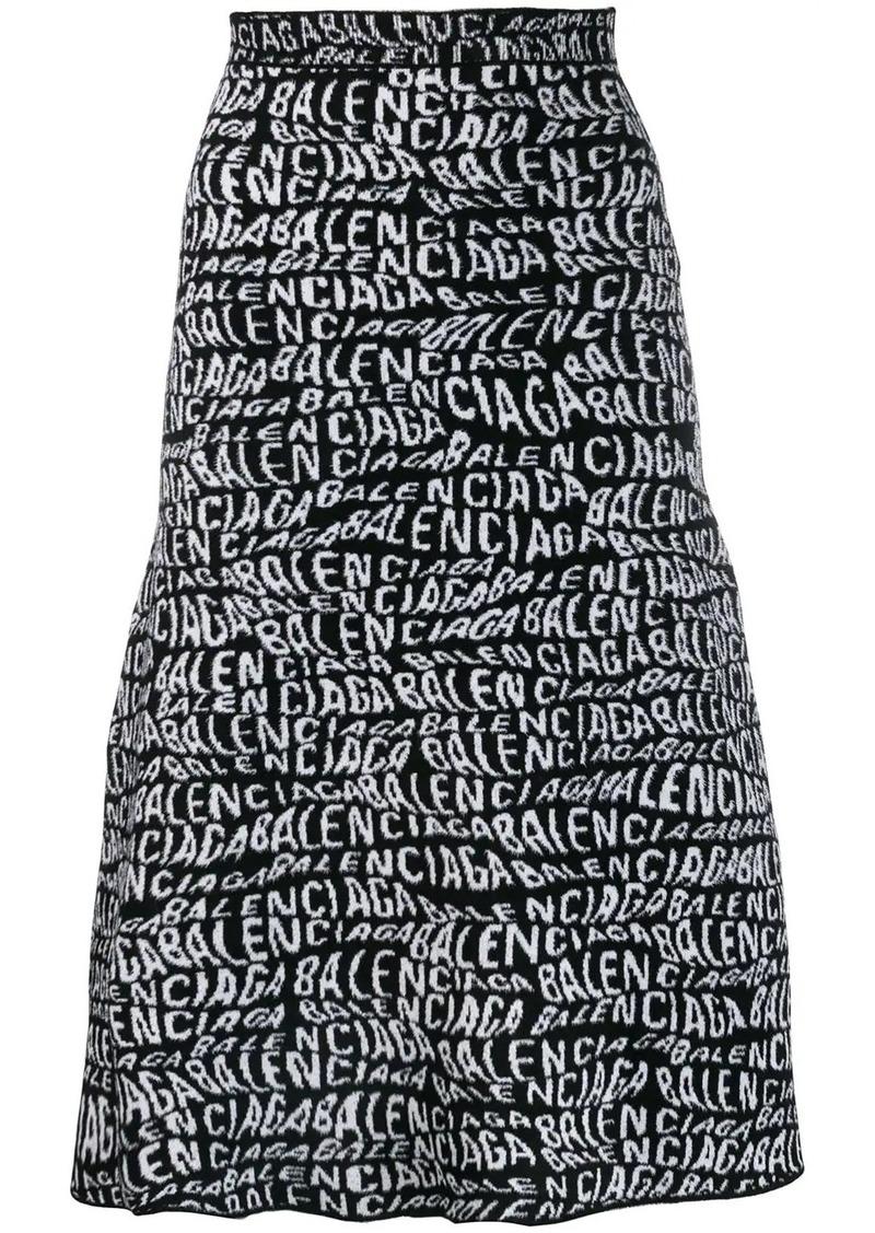 Balenciaga logo print A-line skirt
