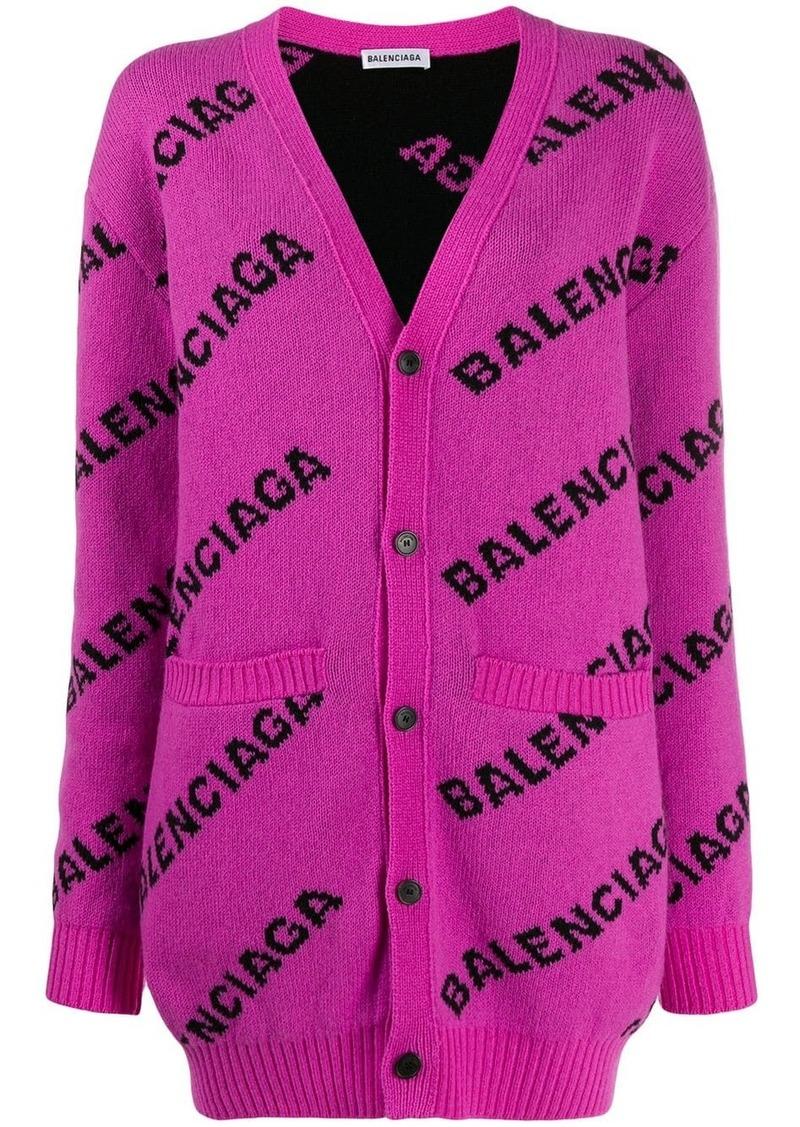Balenciaga logo print cardi-coat