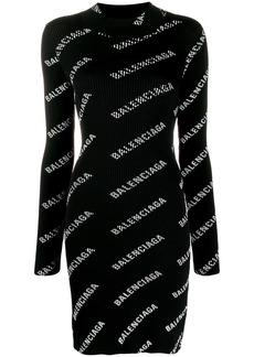 Balenciaga logo print mini dress