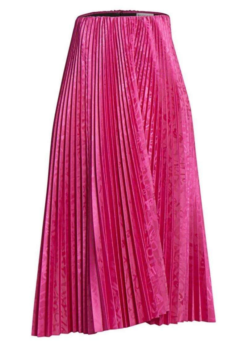 Balenciaga Logo Print Pleated Midi Skirt