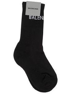 Balenciaga Logo Print Rib Knit Cotton Socks