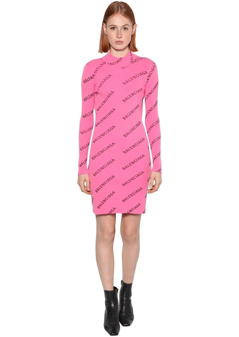 Balenciaga Logo Print Rib Knit Dress