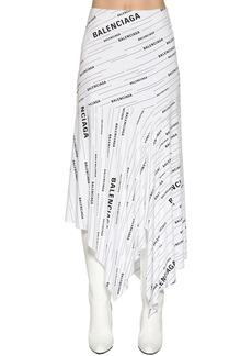 Balenciaga Logo Printed Viscose Jersey Skirt