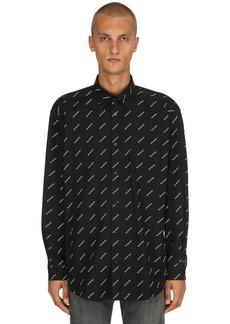Balenciaga Logo Printed Cotton Poplin Shirt