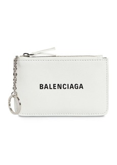 Balenciaga Logo Printed Grained Leather Key Wallet