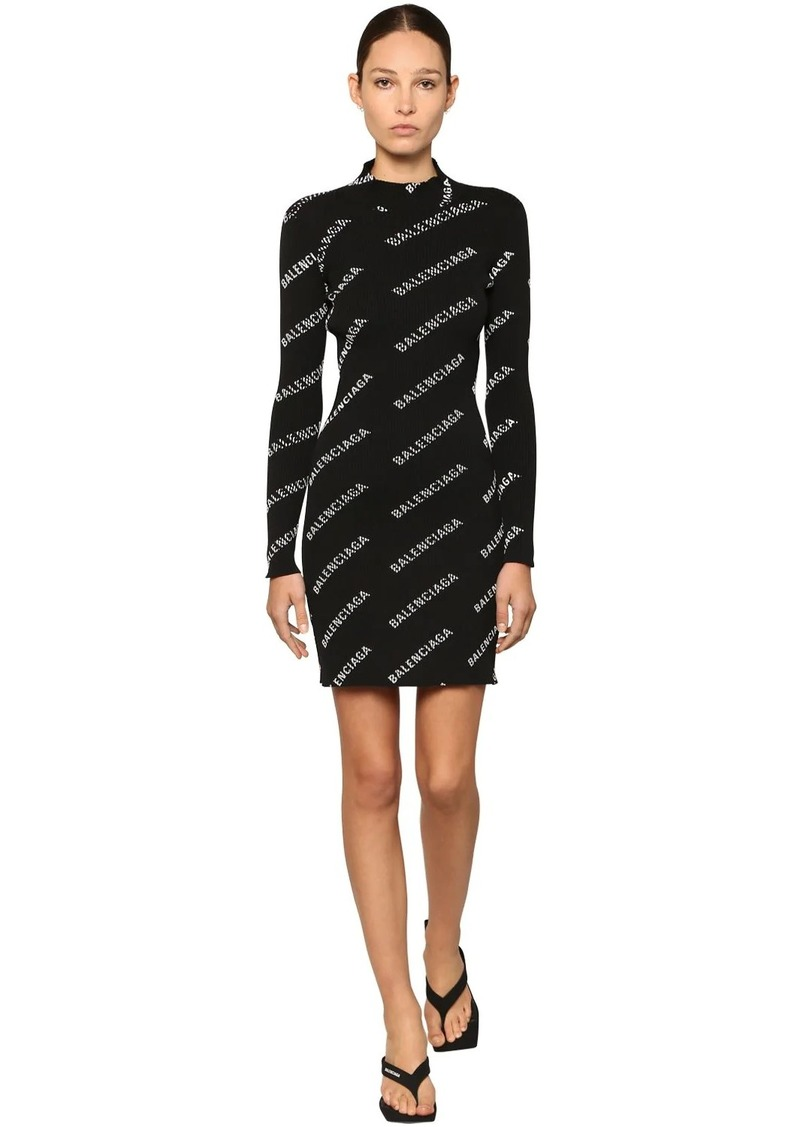 Balenciaga Logo Printed Knit Rib Mini Dress