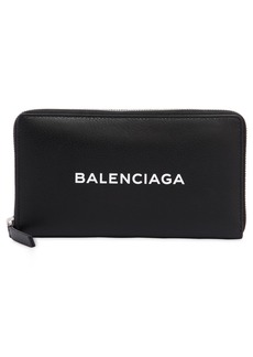 Balenciaga Logo Printed Leather Zip Around Wallet