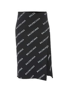 Balenciaga Allover Logo ribbed-knit wrap skirt