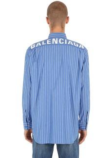 Balenciaga Logo Printed Striped Cotton Shirt