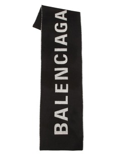 Balenciaga Logo Printed Wool Plaid Scarf