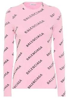 Balenciaga Logo ribbed-knit top