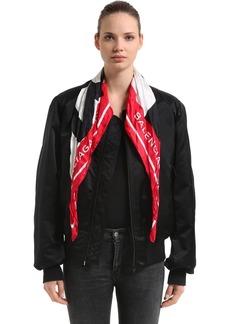 Balenciaga Logo Scarf Satin Bomber Jacket