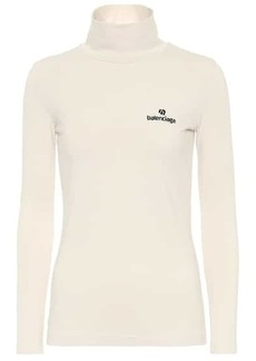 Balenciaga Logo stretch-cotton turtleneck top