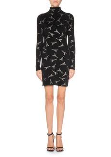 Balenciaga Long-Sleeve Mock-Neck Velvet Eiffel Tower Cocktail Dress