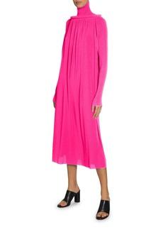 Balenciaga Long-Sleeve Pleated Tech Crepe Dress