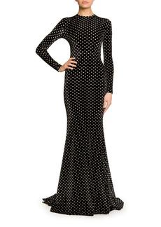 Balenciaga Long-Sleeve Polka-Dot Velvet Mermaid Gown