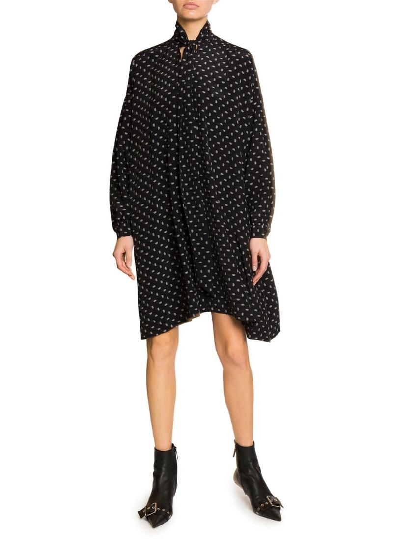 Balenciaga Long-Sleeve Scarf Neck Silk-Crepe Dress