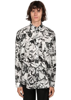 Balenciaga Ls Magazine Print Cotton Shirt