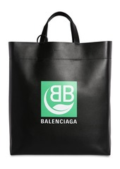 Balenciaga Md Market Logo Printed Leather Tote Bag