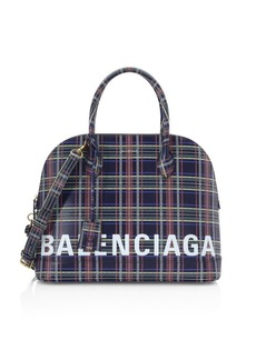 Balenciaga Medium Ville Plaid Leather Top Handle Bag