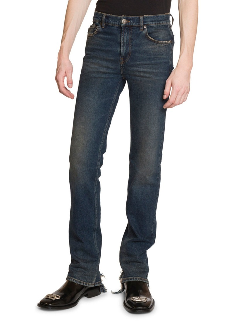 Balenciaga Men's Fitted 5-Pocket Jeans with Hem Detail