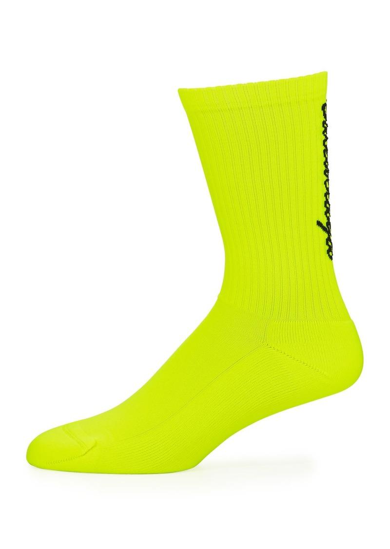 Balenciaga Men's Logo-Knit Socks