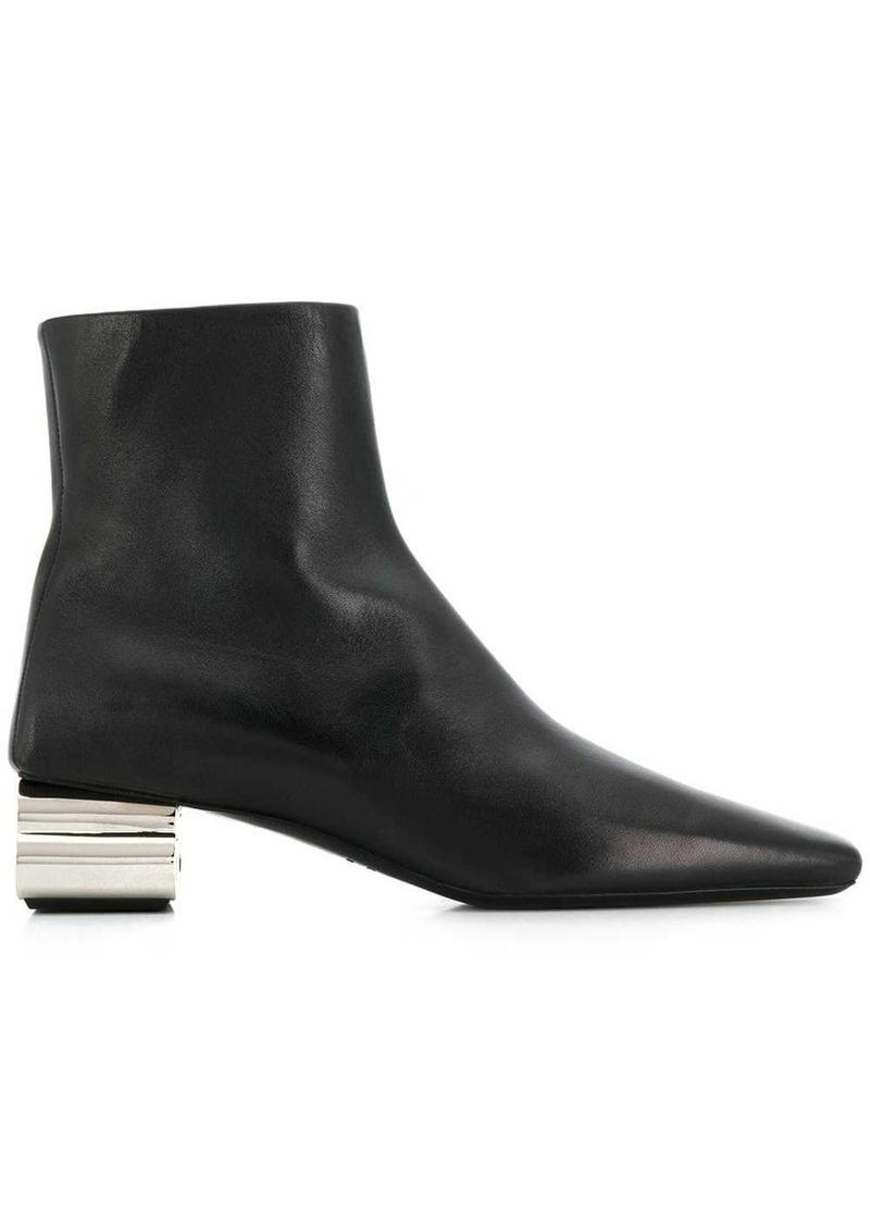Balenciaga metallic BB logo block heel boots