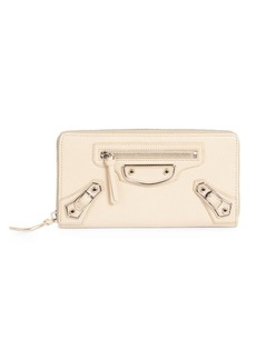 Balenciaga Metallic Edge Continental Zip-Around Wallet